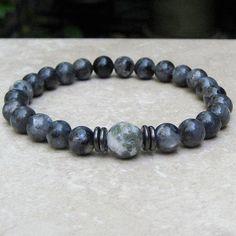 Men's Bracelet, Labradorite Gemstone, Gray Yoga Stretch Bracelet, Tibetan Jewelry,  Beaded Men's Jewelry, Spiritual Healing Bracelet, Man's