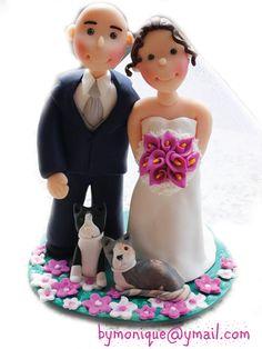 cake topper sposini con i loro amici a quattro zampe - caketopperbymonique