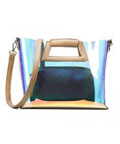 6ac9e156f5 Hologram Laser Leather Shoulder Bag Top Handle Tote Bag with Small Bag  Inside - Khaki - C3185WD7N8M