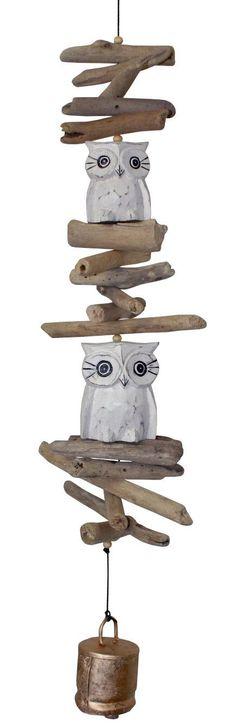 Twin Oscar Owl Wooden Wind Chime