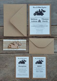 Rustic Motorcycle Wedding Invitations By MelindaWeddingDesign