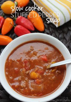 This Slow Cooker Stuffed Pepper Soup is perfect for a chilly night. http://www.savingwithshellie.com/recipe-slow-cooker-stuffed-pepper-soup