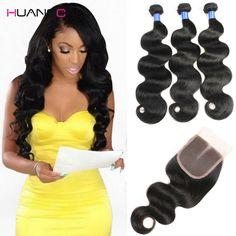 8A Grade Peruvian Virgin Hair Body Wave With Closure Cheap Human Hair With Closure Piece HuangCai Hair With Closure And 3Bundles