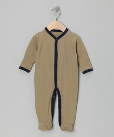 Take a look at this Olive & Navy Organic Footie - Infant by Itty Bitty Organics on #zulily today!