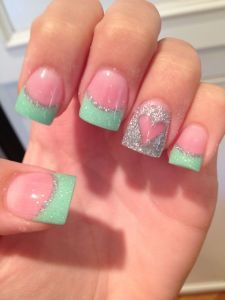 Cute Glitter and Heart Acrylic Nail Design. See more at http://www.naildesignsforyou.com/30-cute-acrylic-nail-designs/ | http://www.naildesignsforyou.com #cutenails #cuteacrylicnails #acrylicnails #cutenaildesigns #cutenailart