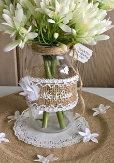 Discover recipes, home ideas, style inspiration and other ideas to try. Wedding Table Centres, Wedding Hall Decorations, Wine Bottle Crafts, Mason Jar Crafts, Burlap Mason Jars, Wedding Table Centerpieces, Mason Jar Centerpieces, Diy Home Crafts, Rustic Wedding