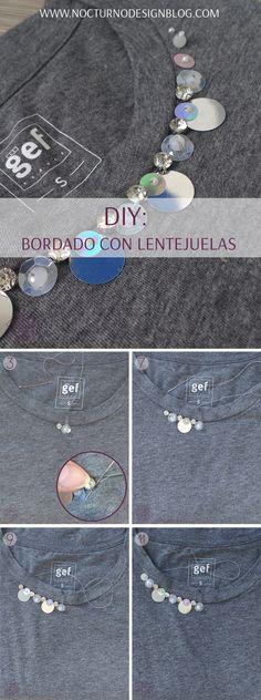 DIY EXPRESS: Camiseta bordada con lentejuelas. Tutorial fácil y rápido. Paso a paso completo en la página web. Ribbon Work, Refashion, Diy Clothes, Charity, Diy And Crafts, Kids Rugs, Make It Yourself, Sewing, Stones
