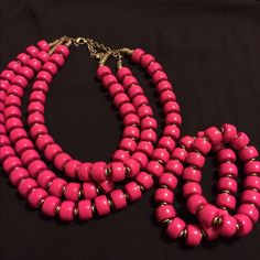 Lipstick Set Antique gold and hot pink lipstick bead necklace and bracelets Jewelry Necklaces