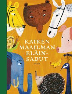 Title: Kaiken maailman eläinsadut   Designer: Matti Pikkujämsä Kids Story Books, Inspiration For Kids, Children's Book Illustration, Book Design, Childrens Books, Illustrators, Drawings, Animals, Baby Books