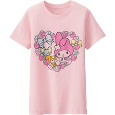 UNIQLO SANRIO Short Sleeve Graphic T-Shirt (£7.90) ❤ liked on Polyvore featuring tops, t-shirts, hello kitty graphic tees, graphic design t shirts, graphic tees, hello kitty tee and pink tee