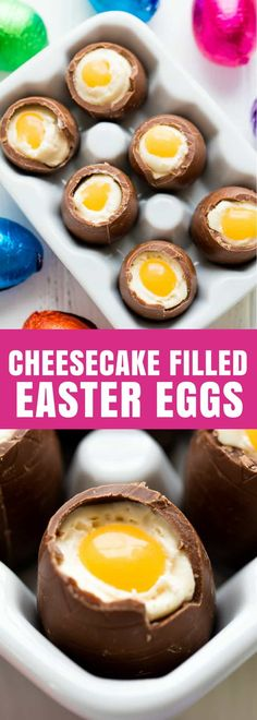 These Cheesecake Filled Easter Eggs are a fun Easter treat that are easy to make! They look just like an egg! #stayathomechef #Easter #dessert