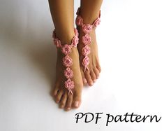 PDF Crochet PATTERN - Crochet Barefoot Sandals Pattern Nude Shoes Bridal Sandals Bridesmaids Nude Wedding Foot Jewelry - P0027