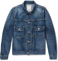 8588409e79df8 101 Selvedge Denim Jacket | MR PORTER Mens Blue Leather Jacket, Blue Jean  Jacket,