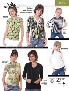 Jalie 2805 Choice of t-shirts with 4 sleeve lengths and 4 neckline variations: Jewel neck (A), Mock turtleneck (B), V-Neck (C), overlapped V-neck with ...