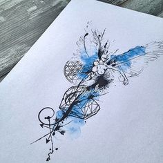 Abstract watercolor angel