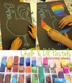 Picasso's Le Coq Pastel Project Inspired by Picasso's painting, La Coq, kids use a combination of oil and chalk pastels to draw a cubist rooster. Easy art activity that takes less than an hour. Art Drawings Sketches Simple, Art Drawings For Kids, Art For Kids, Drawing Ideas, Picasso Art, Pablo Picasso, Deep Space Sparkle, Rooster Art, 4th Grade Art