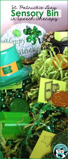 Hide mini speech or language cards in St. Patrick's Day sensory bin for a fun hands-on therapy activity! Tiny flashcards available when you click on this pin!