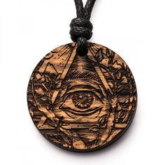 Allsehendes Auge - 3in1_diy_schmuck Holzschmuck aus Naturholz / Anhänger Laser Engraving, Engraving Ideas, Diy Love, Cnc, Wooden Jewelry, Wood Carving, Pocket Watch, Washer Necklace, Make Up