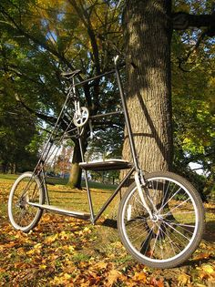 """I was hired to build a """"tall bike"""", after looking at all the wasted space, I was able to talk the customer into adding some cargo area. Cool Bicycles, Cool Bikes, Tricycle, Urban Workshop, Cycling Holiday, Push Bikes, Drift Trike, Cargo Bike, Bike Ideas"""