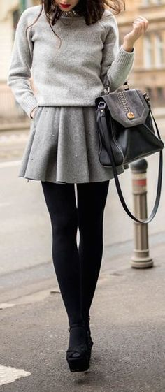 Women's fashion | Grey sweater and skirt with black tights