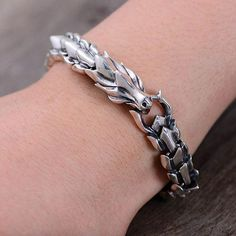 Dragon Bracelet for Men Sterling Silver Celtic Viking Bracelet Men Byzantine Bracelet Chain Bracelet Mens Jewelry Mens Silver Bracelet Clean Sterling Silver, Sterling Silver Bracelets, Silver Rings, 925 Silver, Silver Necklaces, Silver Bangles, Dragon Bracelet, Viking Bracelet, Silver Dragon