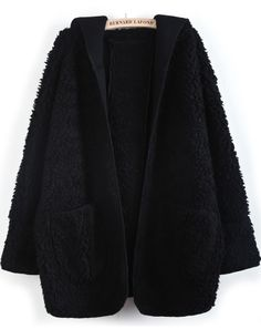 Black Hooded Batwing Long Sleeve Loose Coat - Sheinside.com