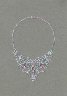Tony FURION : Collier : ''TRIO DE DAUPHINS'' Gouaché joaillerie dessin bijoux drawing necklace jewellery dolphin rendering jewels