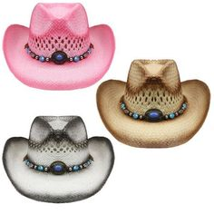 NEW COWBOY KIDS OR SMALL HAT S 54CM Paper Straw BROWN WHITE RODEO Cowgirl  Pink 5a8d8aac4dac