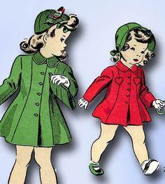 1940s Vintage Du Barry Sewing Pattern 5730 WWII Toddler Girls Princess Coat Sz 2 #DuBarry #PrincessCoatPattern