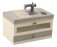 Scatola per cucito a 1 cassetto in legno e tessuto - 25x16x21 cm