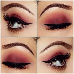 How to Wear Red Eye Shadow ❤ liked on Polyvore featuring beauty products, makeup, eye makeup, eyeshadow, eyes, beauty and filler