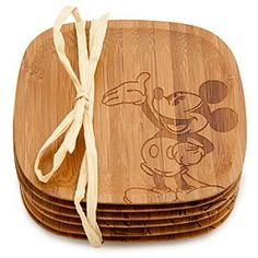 Mickey Mouse coaster set in bamboo! Love all the different Mickeys on each one!