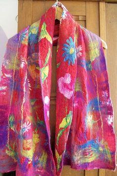 colourful felt shawl