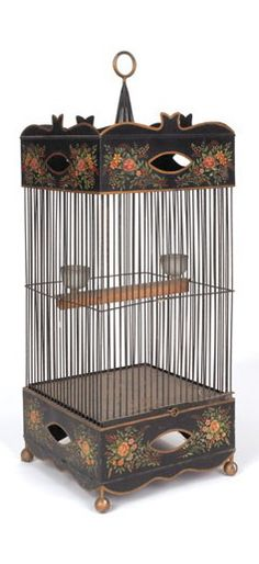 Painted tin birdcage, c. Belle Epoque, Antique Bird Cages, The Caged Bird Sings, Vintage Birds, Tole Painting, Bird Feathers, Beautiful Birds, Bird Houses, Painted Furniture