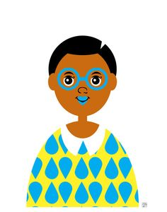 Nerdy African American Girl Illustration by Tabitha Brown