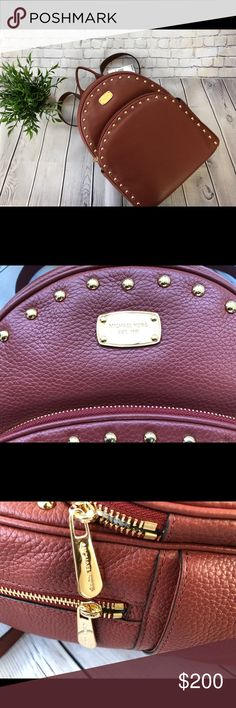 Michael Kors Leather Backpack (Large) Amazingly cute New With Tags Michael Kors Abbey leather backpack adorned with gold metal studding. Perfect for travel or everyday use. Color: Brick Michael Kors Bags Backpacks