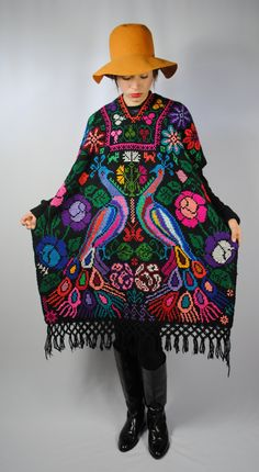 Vintage UNIQUE Colorful Ethnic HAND Knitted PONCHO