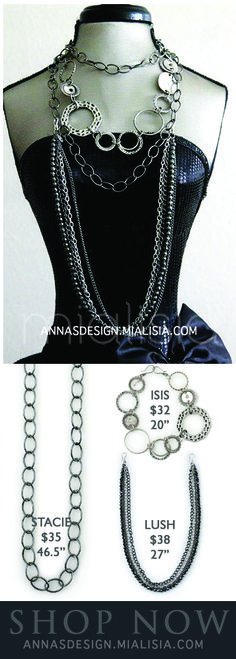 """Create this fun look with three #Mialisia #VeraStyle Pieces of jewelry.  #Stacie: this simple gun metal chain adds dimension as a layered necklace or belt. 46.5""""  $35  #Isis: Antique silver hoops with polished, hammered and stippled designs are joined in this dynamic necklace that can also be added to a longer chain. 20""""  $32  #Lush: A thin silver chain joins gun metal links and beads in this richly layered necklace. 27""""  $38"""