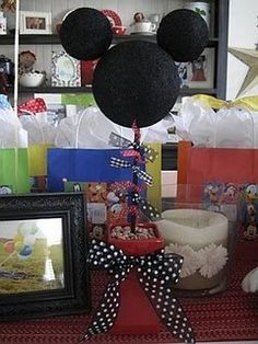 Mickey Mouse Birthday Party - some good ideas. I like the Mickey topiary!