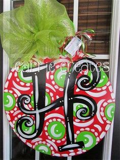 Red Ornament with Lime Dots (Can be personalized with Merry Christmas, initial or last name) : $45