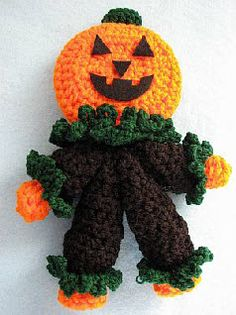 Pumpkin Man Rattle by Donna's Crochet Designs.  FREE PATTERN AND PDF 6/14.