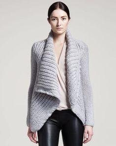 Helmut Lang Gray Augmented Wool Shawl Knit Jacket Cardigan Size 0 (XS) 3141316a6