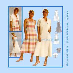 Burda 8352 Womens Jacket & Princess Seam Dress with Flared Skirt size 12 14 16 18 20 22 24 Average to Plus Size Sewing Pattern Uncut FF by ladydiamond46 on Etsy