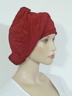 ec6f5053757 Fearlessly stylish lagenlook cranberry quilted cloque jersey slouchy beanie  hat