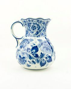 Vintage - Delft Blue pitcher/vase - I first saw this pottery on a trip to Solvang, beautiful, expensive tho. Netherlands origin.