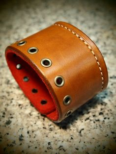 Leather Cuff Bracelet hand made Red Suede lined by mataradesign