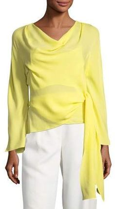 395bc8faef Narciso Rodriguez Cowl-Neck Wrap Silk Blouse