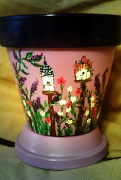 Hand painted flower pot with bottom dish.