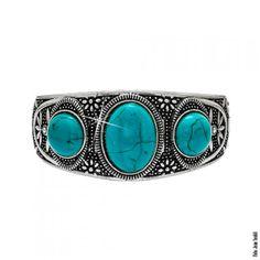 Bracelete boho com pedra oval azul turquesa folheada em prata turca