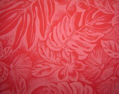 Hawaiian Fabric - Red Floral Print With Leaves on Red II